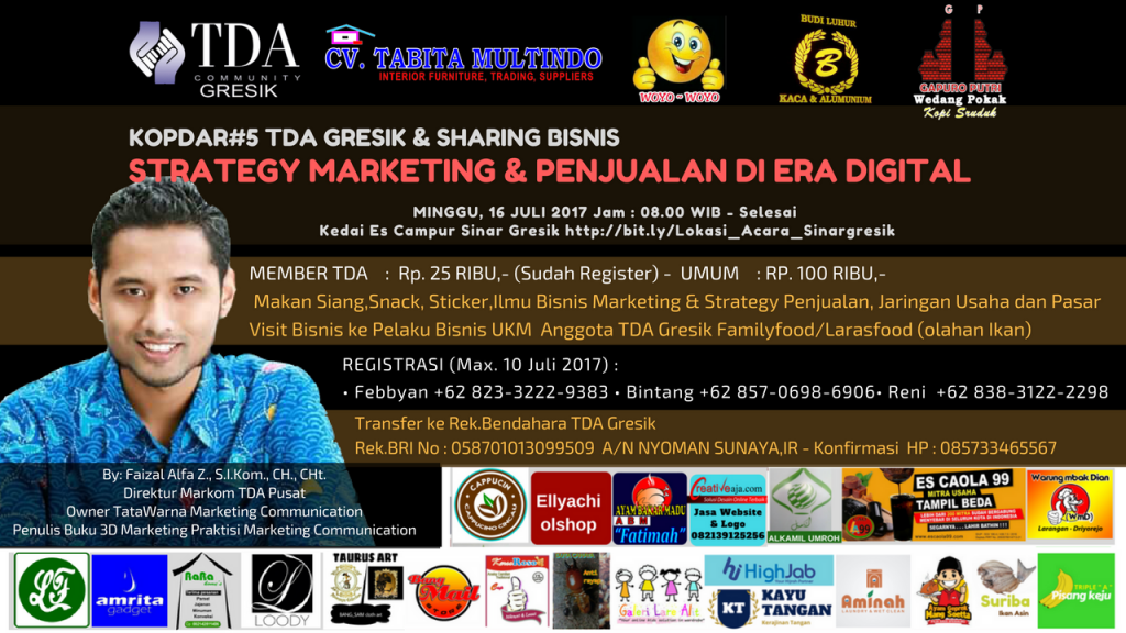 "KOPDAR#5 TDA GRESIK & SHARING BISNIS ""STRATEGY MARKETING & PENJUALAN DI ERA DIGITAL"""